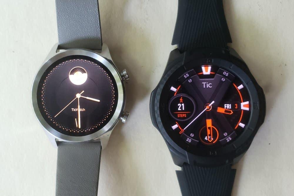 Ticwatch C2 vs Ticwatch S2 main screen