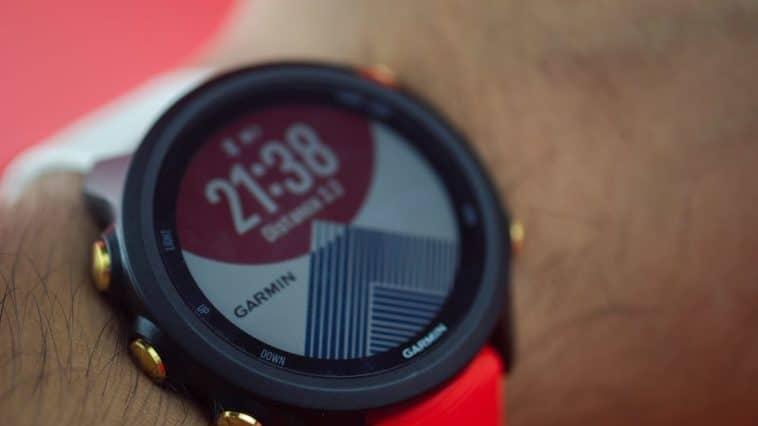 A close look at a Garmin watch.