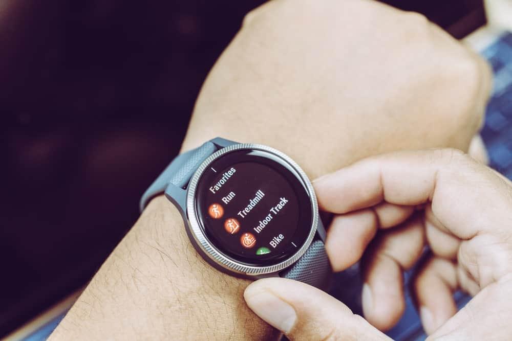A Garmin watch showing the Favorites menu.