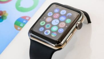 This is a close look at a brand new Apple Watch.