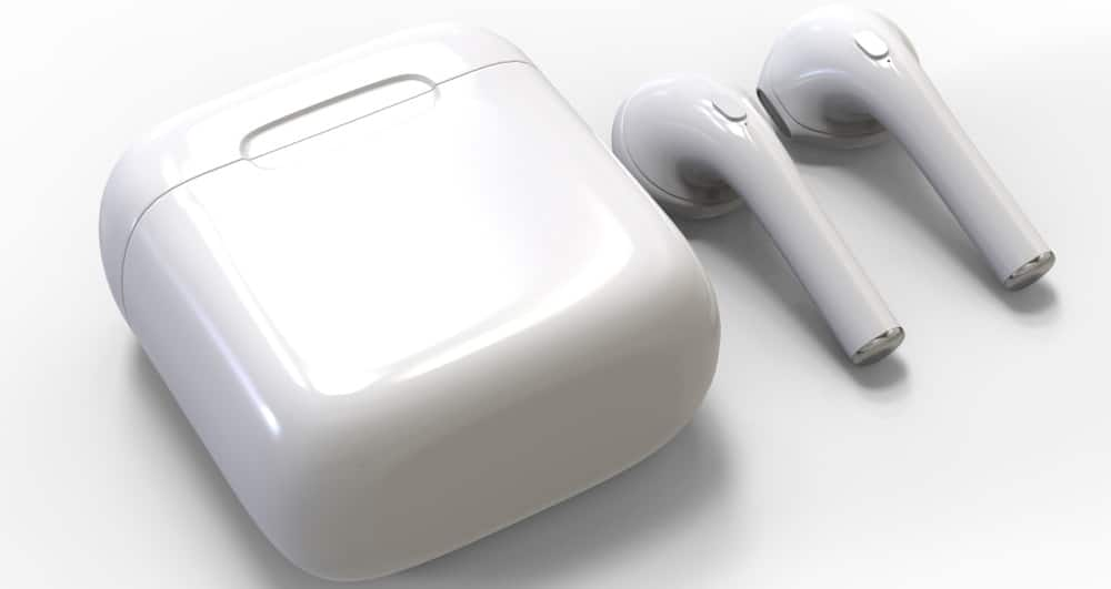 A pair of wireless earbuds and its container case.