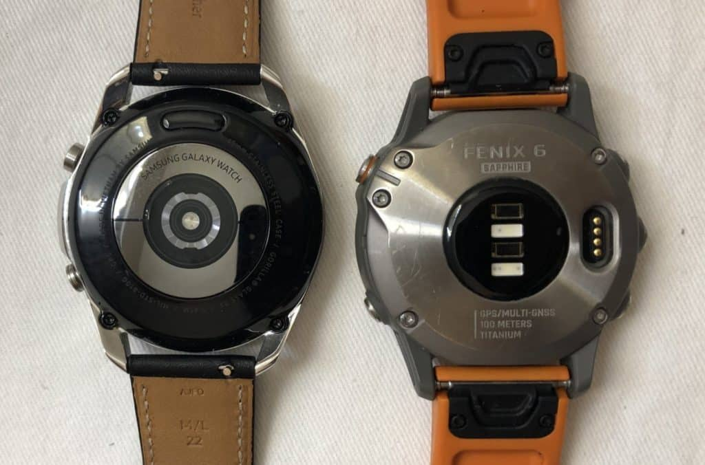 Samsung Galaxy Watch3 vs Garmin Fenix 6 rear heart rate sensor