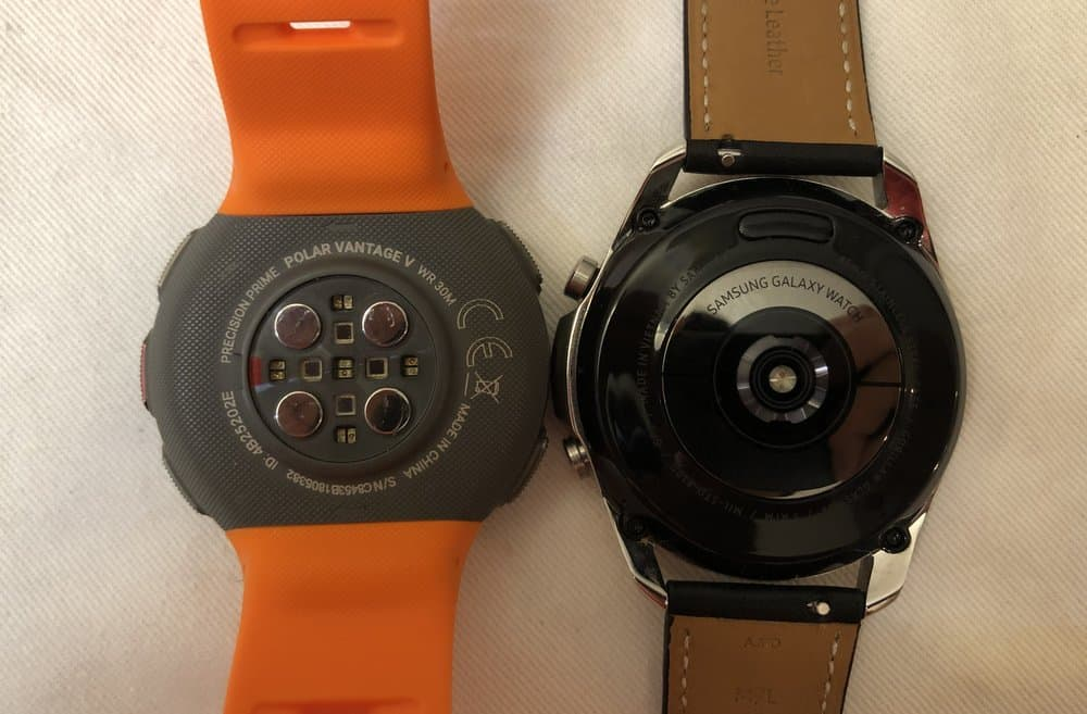 Samsung Galaxy Watch3 vs Polar Vantage V heart rate sensor