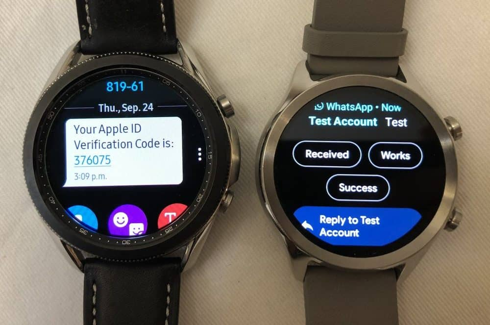 samsung galaxy watch3 vs ticwatch c2 emails and texts