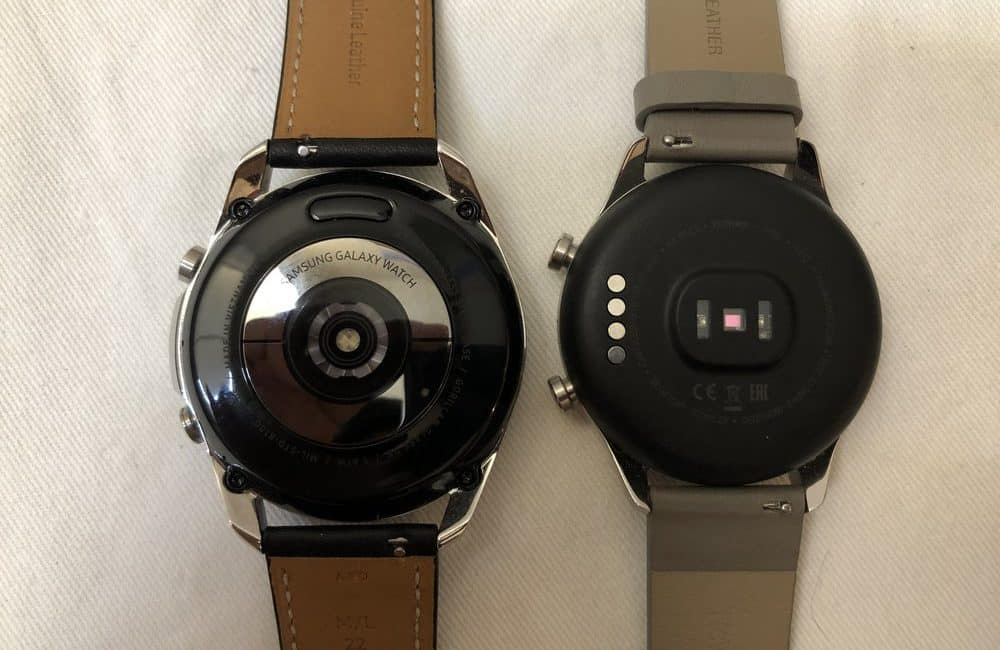 samsung galaxy watch3 vs ticwatch c2 rear heart rate sensor