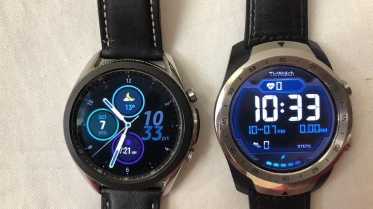 samsung galaxy watch3 vs ticwatch pro main screen
