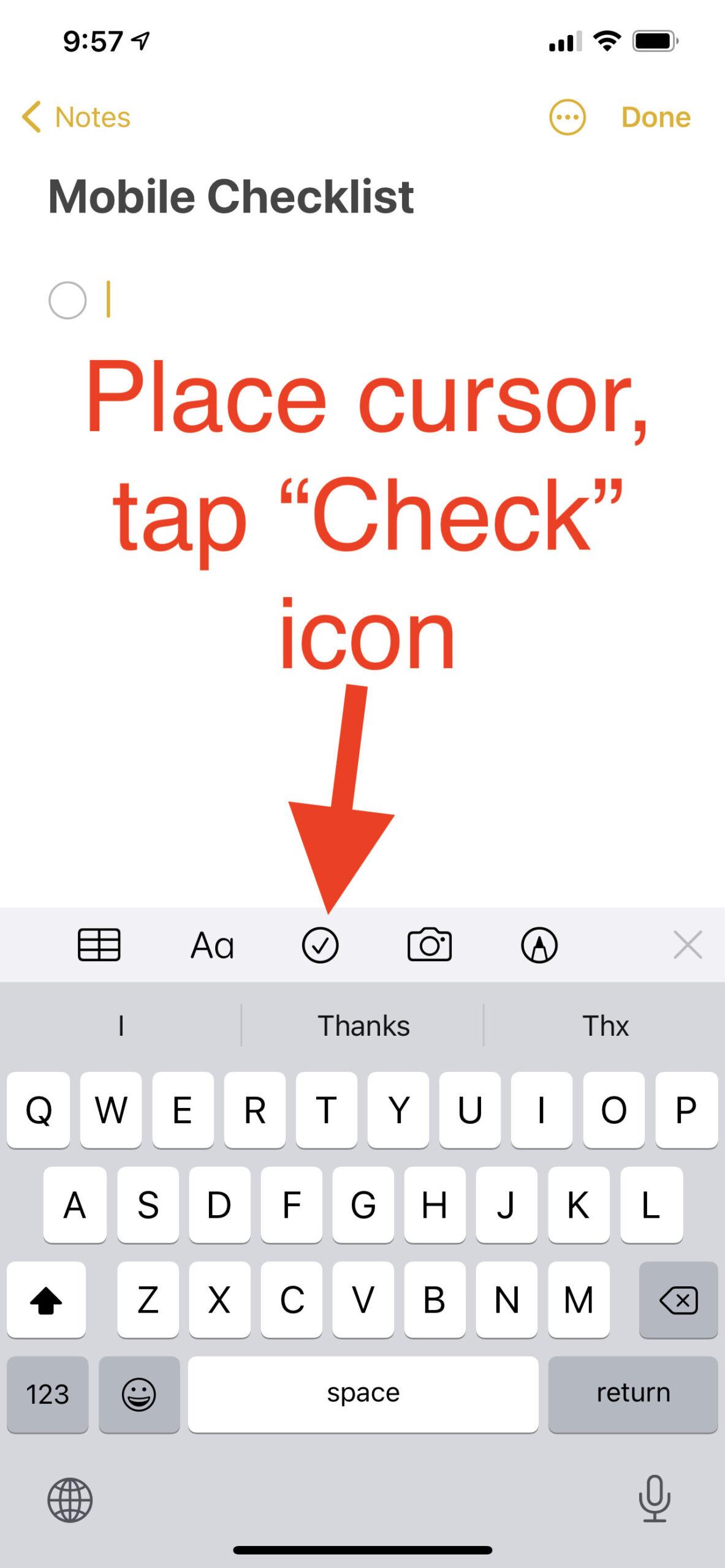 Create checklist blank note