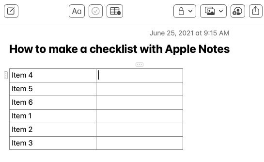 Example of a checklist converted into a table