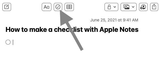 Start Notes document in checklist format