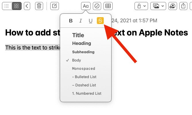 Click text formatting option in Apple Notes