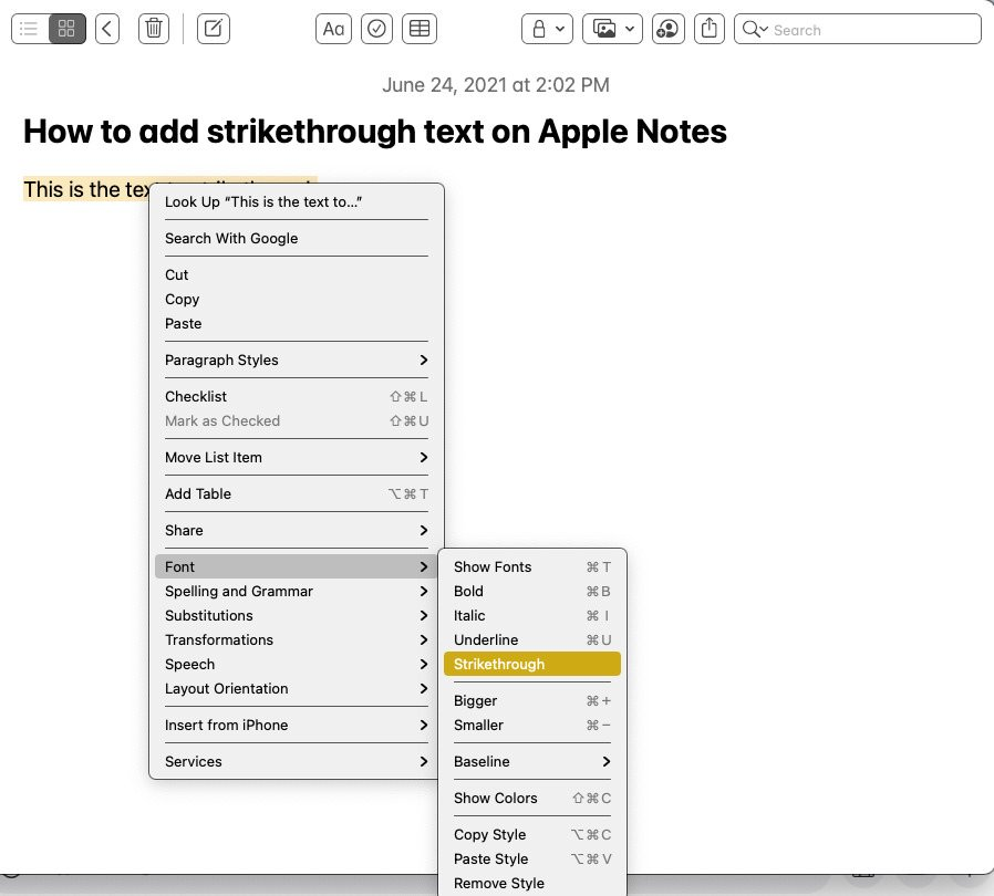 Right click Apple Notes for text strikethrough option