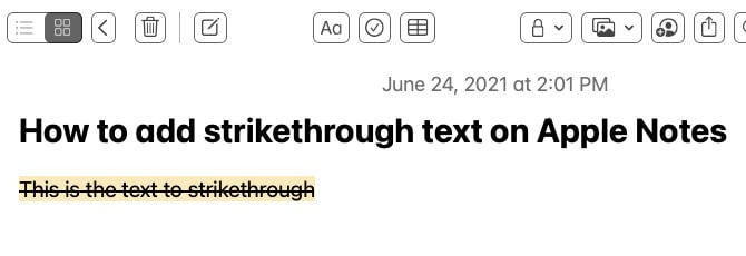 Example of text with strikethrough Apple Notes