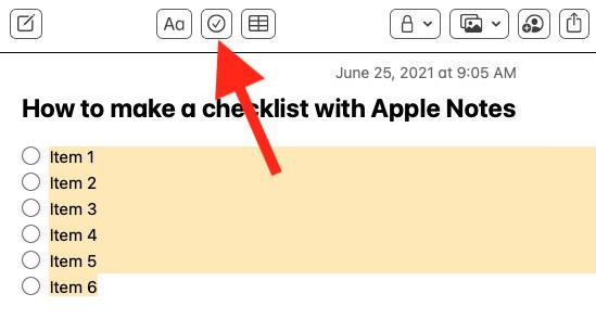 Check the checkmark icon