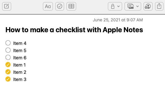 Checked items go to bottom of checklist