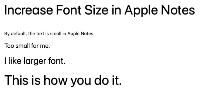 Different font sizes Apple Notes