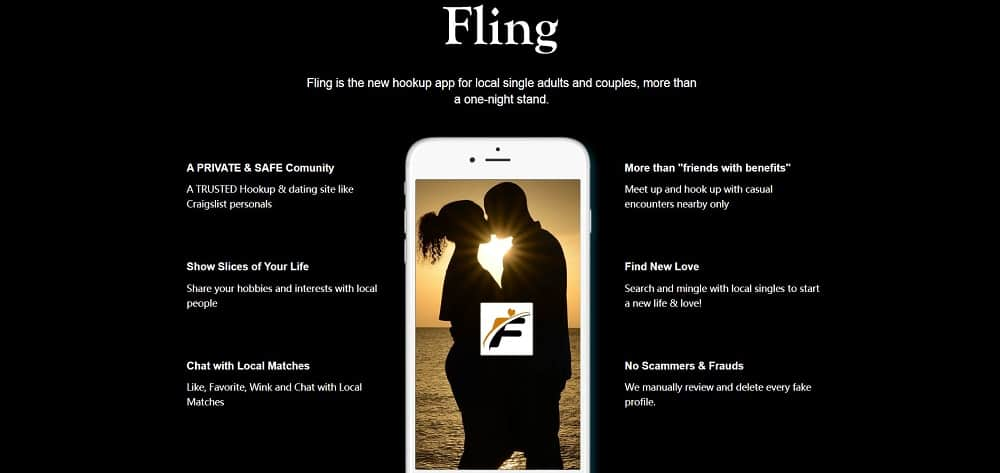This is the screenshot of the Fling homepage.